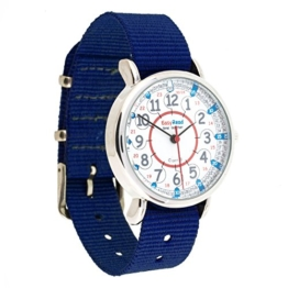 Easyread Time Teacher Kinderarmbanduhr, 12-& 24-Stunden-Anzeige, Zifferblatt in rot, blau, grau, marineblaues Band -
