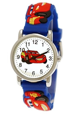 Pure Time Autos Cars Kinderuhr Jungen Mädchen Auto Kinder Silikon Armband Blau Rot Sportuhr Lernuhr Uhr 3D -