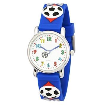 Zeiger Fußball Kinderuhr Jungen Armband Uhr Fußball Kinder Armbanduhr Blau Sportuhr Lernuhr KW002 -