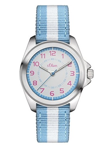 s.Oliver Mädchen-Armbanduhr Analog Quarz Textil SO-3134-LQ -