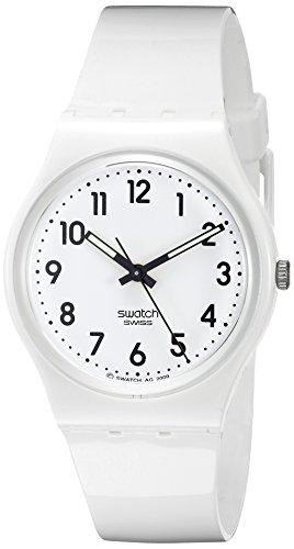 Swatch Unisex-Armbanduhr Just White Analog Quarz Plastik GW151 -